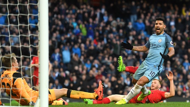 SOMETHING TO SHOUT ABOUT: Sergio Aguero scores in the sides' last meeting