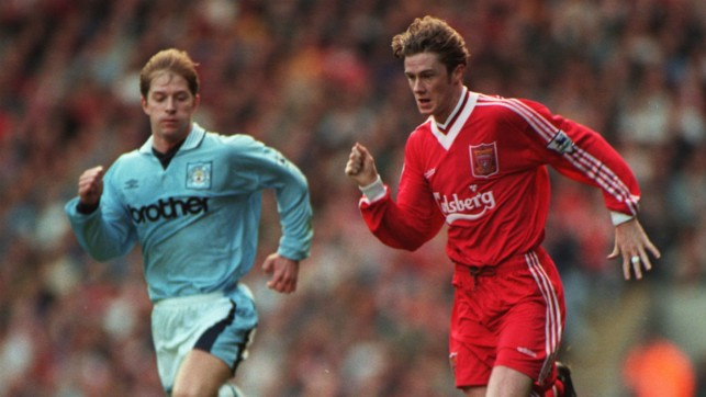 OH BROTHER: Ian Brightwell gives chase to Steve McManaman in 1995