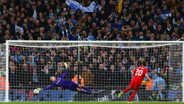 SPOT ON: Willy Caballero during his heroic penalty display in the 2016 League Cup final