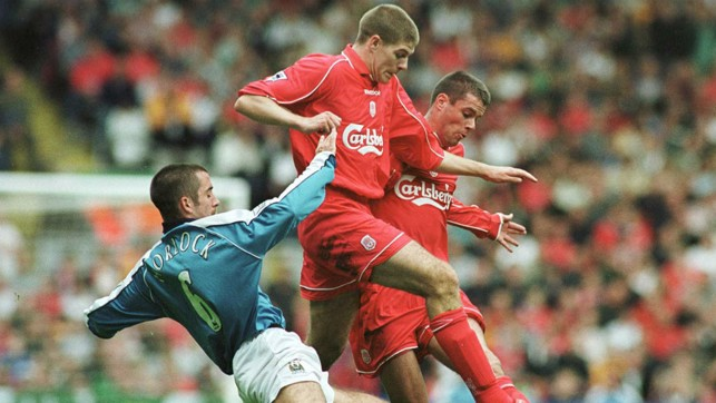 NO QUARTER GIVEN: Kevin Horlock flies into a challenge with Steven Gerrard and Jamie Carragher in 2000
