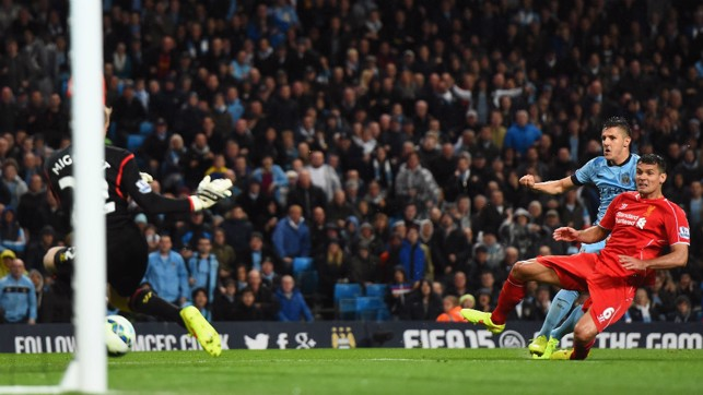 JOV IT! Stevan Jovetic scores during City's last home win against Liverpool in 2014