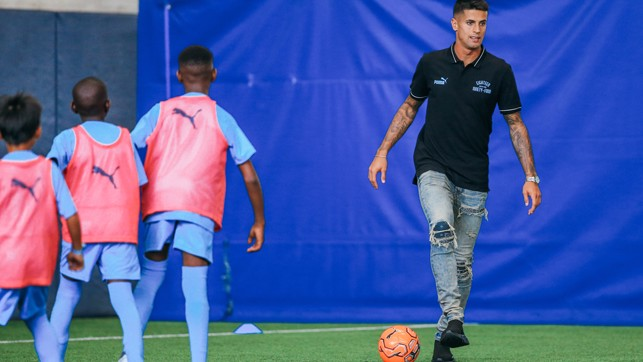 BOY BLUES: Our new signing took part in a City in the Community session at the City Football Academy
