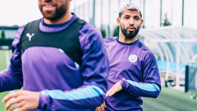 I SEE YOU: Sergio Aguero spots our camera.