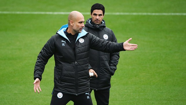 THIS WAY: Pep  lends some advice...