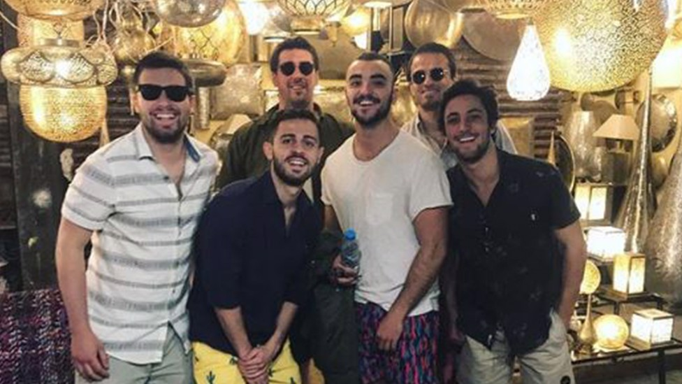 LADS: Bernardo with a group of mates in Morocco