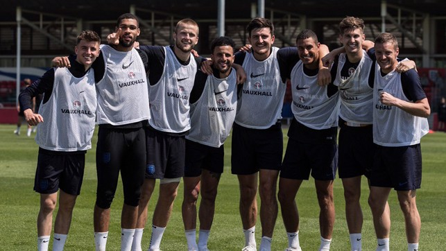 THREE LIONS: Kyle Walker, John Stones and the England squad
