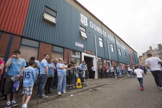 2014: Fans await the players at Den Park, Dundee.