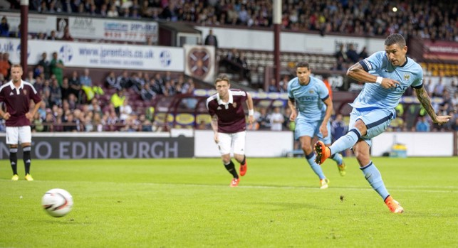 2014: Aleks Kolarov slotting home against Hearts.