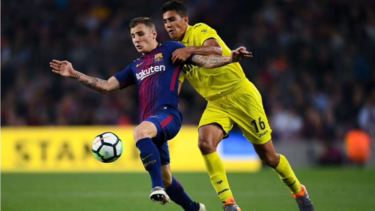 FIRST FOOTING: Rodri began his professional career with Villarreal and is seen here in action against Lucas Digne, then of Barcelona