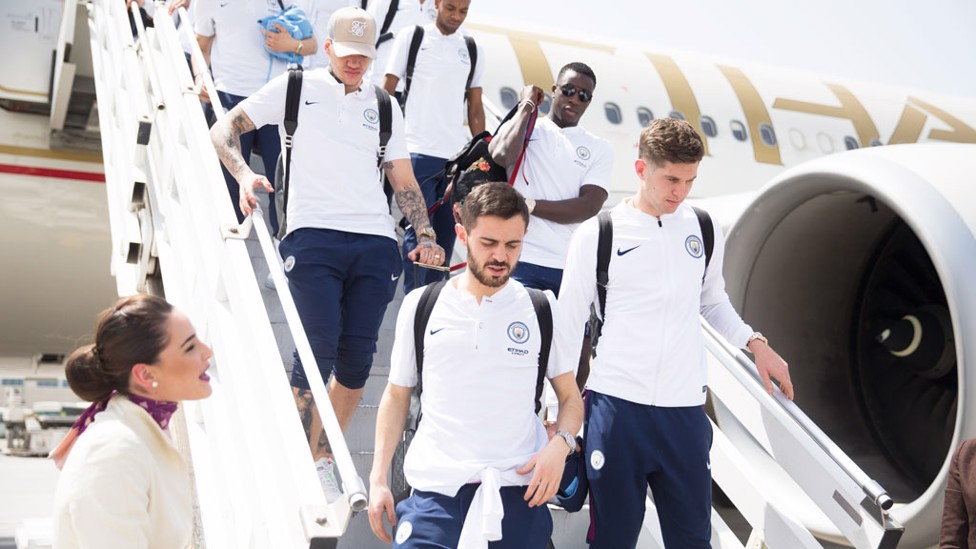 WARM WEATHER BREAK: The players touch down in Abu Dhabi