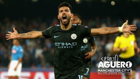 RECORD BREAKER: Sergio Aguero scored his 178th City goal against Napoli