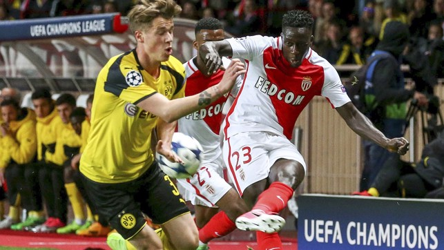 TRANS EURO EXPRESS: Mendy challenges Dortmund's Erik Durm in the 2017 Champions League quarter-final