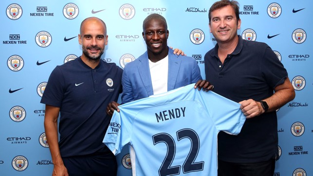 WELCOME: Pep Guardiola and Ferran Soriano greet our new signing.