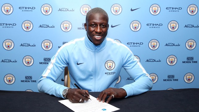 SIGNED AND SEALED: Mendy is a Blue.