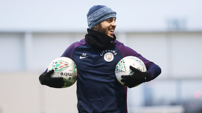 TWO'S COMPANY: Bernardo intends to see plenty of the ball against Bristol City!