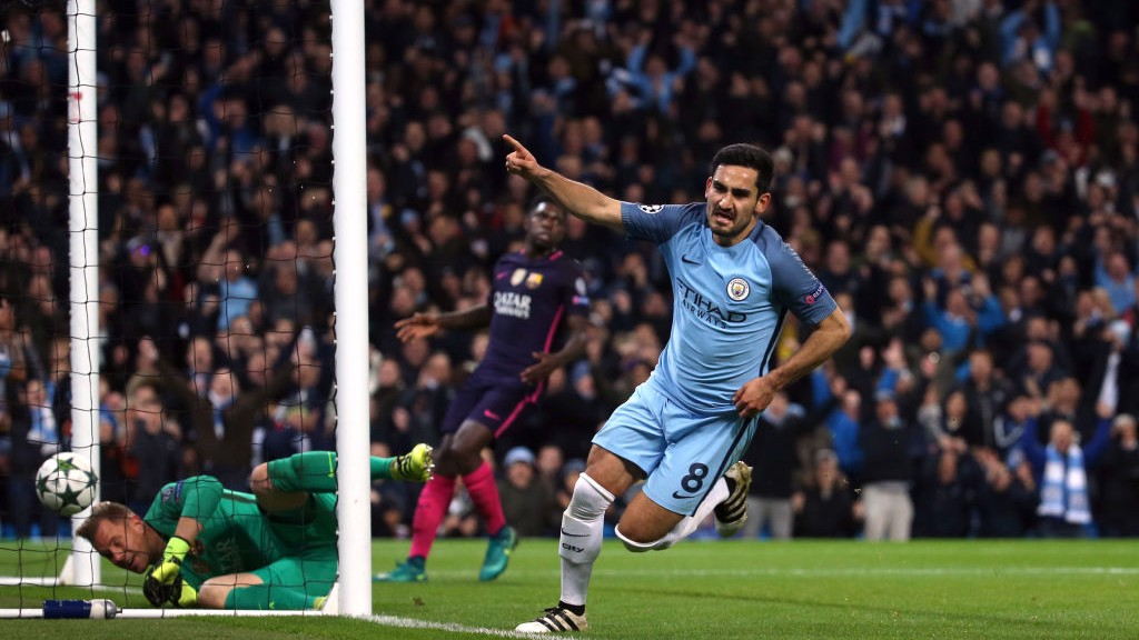 SCREAM: Gundogan celebrates a goal against Barcelona in 2016