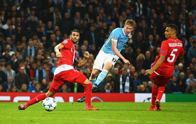 KING KEV: De Bruyne hits against Sevilla in 2015