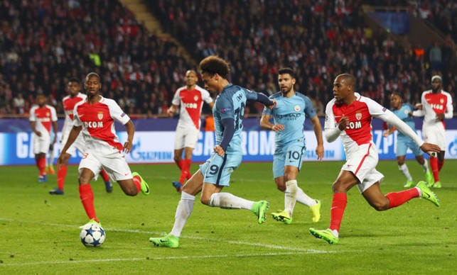 WHAT A MATCH: Sané scores against Monaco at the Etihad in February 2017