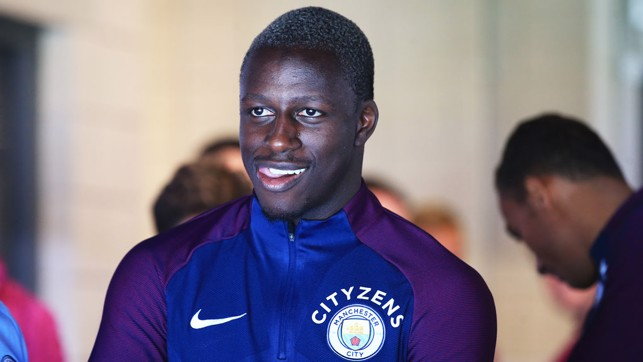 INTRODUCTION: Benjamin Mendy just before he met fans in Manchester for the first time.