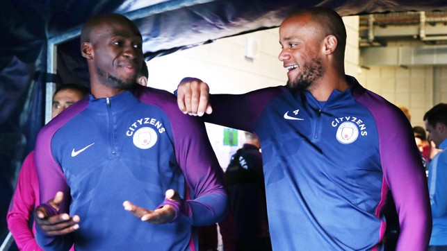 DEFENSIVE DUO: Eliaquim Mangala and Vincent Kompany wait for their introduction.