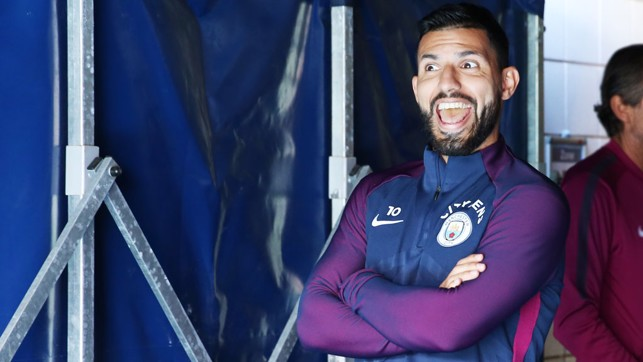 SUPER SERGE: Our No.10 looking excited before training.