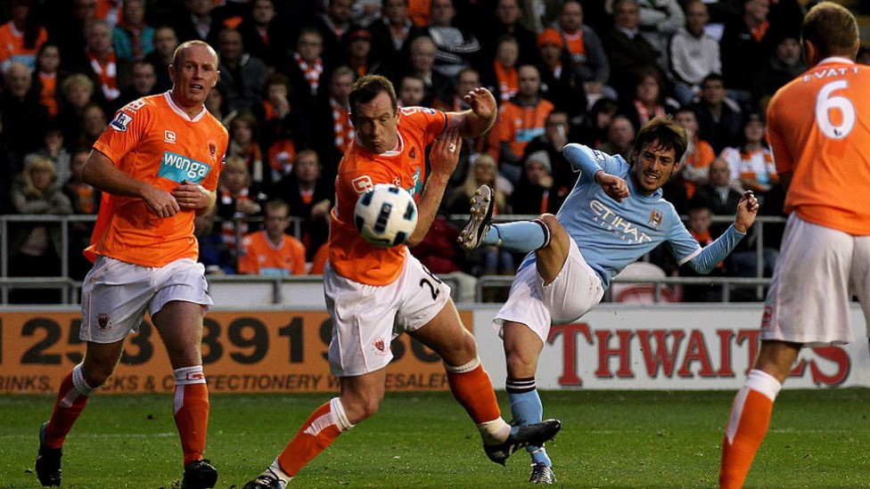 FIRST GOAL: It didn't take long for the Spaniard to net his first City goal, Silva scored and assisted during City's 3-2 win away at Blackpool in October 2010.