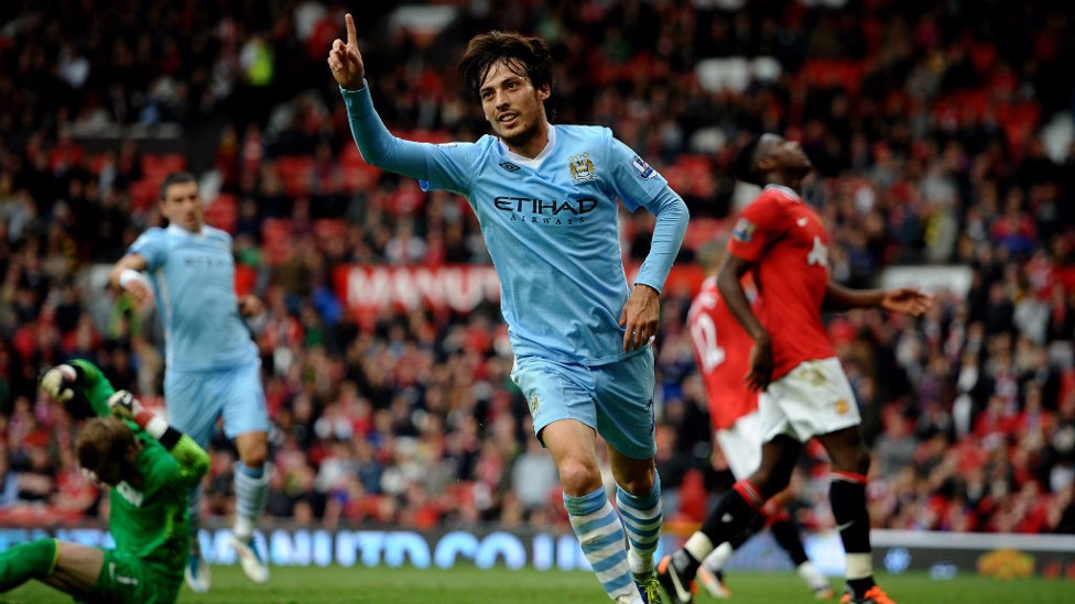 ONE MORE: Another celebration from our 6-1 win over United, when Silva had a huge input in City's victory.