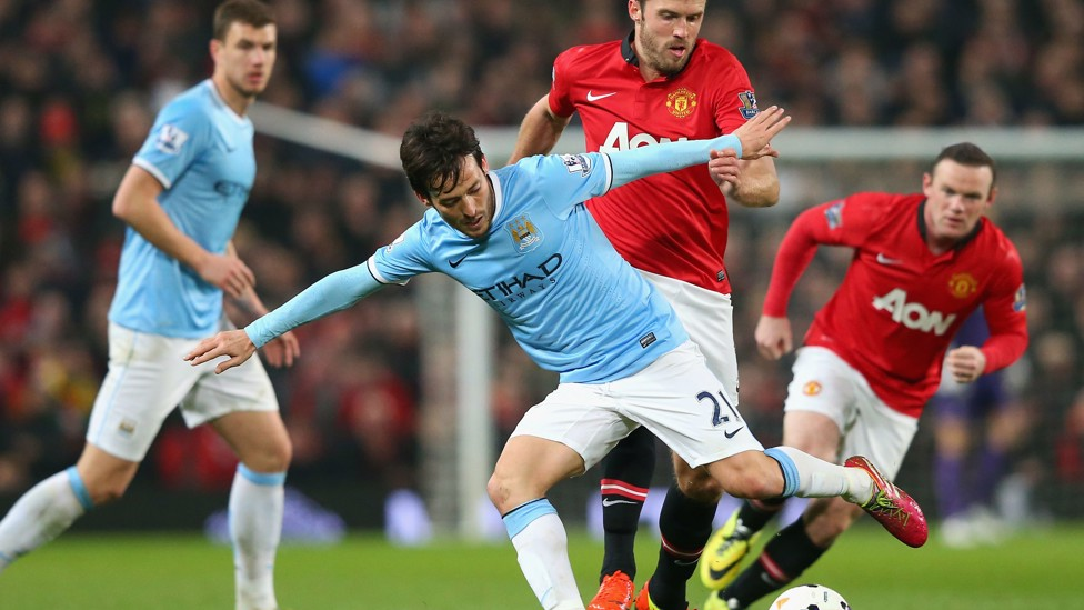 DERBY JOY: The midfielder played a key part in City's 3-0 win over United away at Old Trafford.