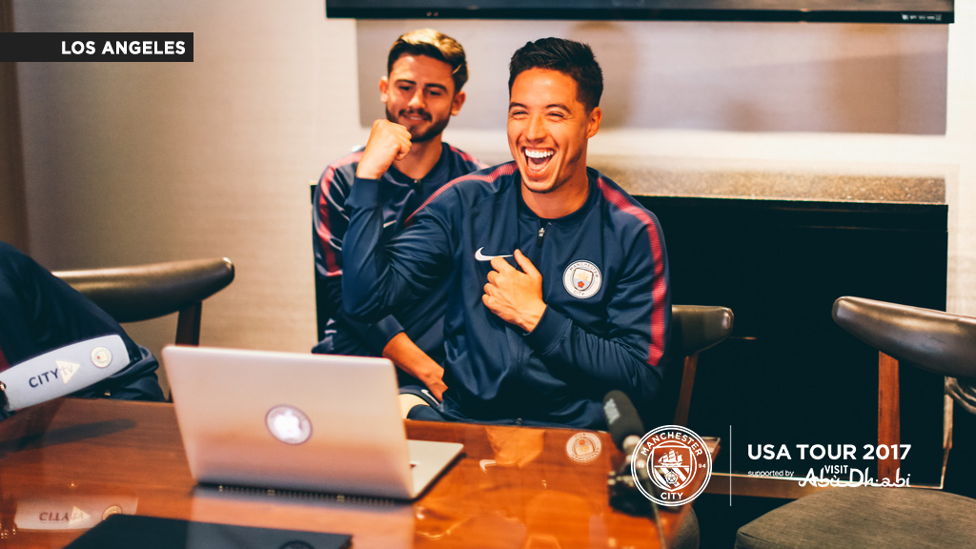 LAUGHTER: Patrick and Samir share a laugh