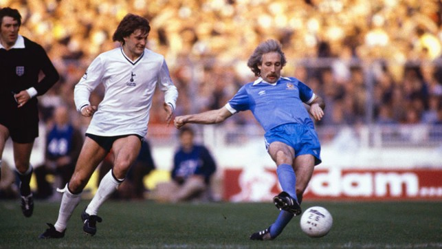 1981: Gerry Gow battles with Glenn Hoddle in City's final replay with Tottenham...