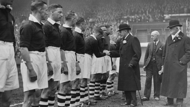 1934: The following year City won the FA Cup for the second time, and here the team can be seen shaking King George V's hand before our 2-1 win over Portsmouth.