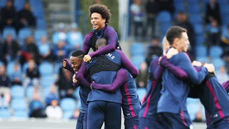 BIT OF FUN: Leroy Sane was all smiles during the session.