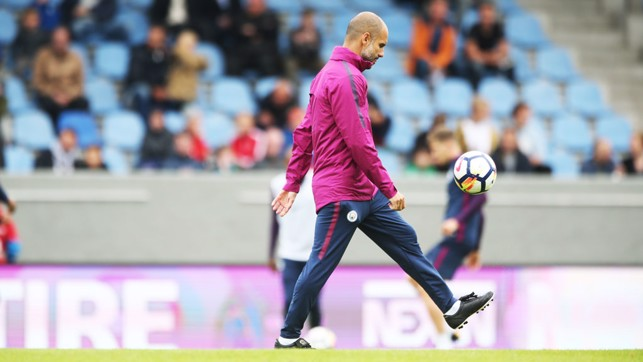 KICK UPS: Pep shows off his skills.