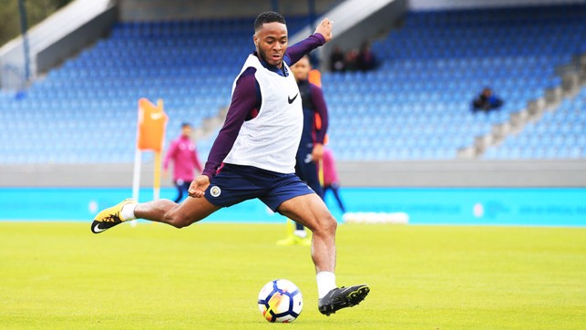 STERLING SHOT: Raheem takes aim during training.