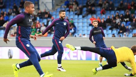 GOAL!: Sergio Aguero scores in training.