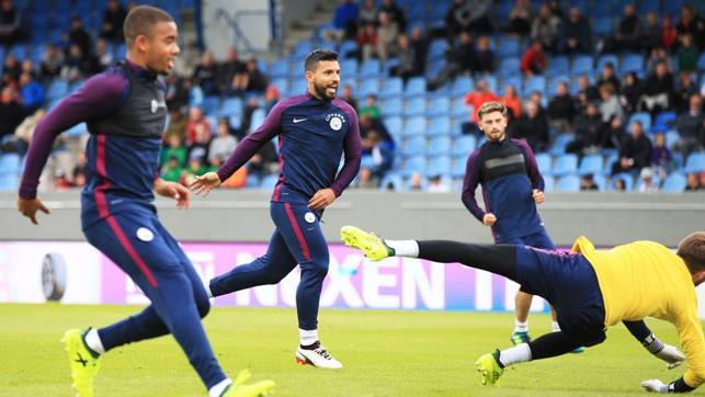 GOAL!: Sergio Aguero scores in training.