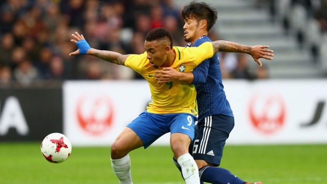 STAR BOY: Gabriel Jesus scored Brazil's third and final goal during their 3-1 victory over Japan.
