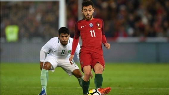 VITÓRIA: Bernardo Silva ajudou Portugal na vitória por 3-0 frente a Arábia Saudita