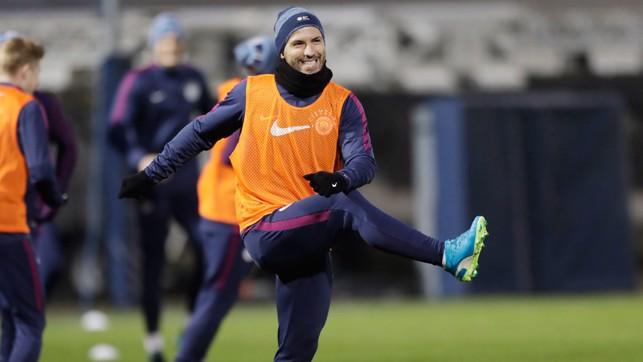 SERGIO: Aguero gives a cheeky smile.