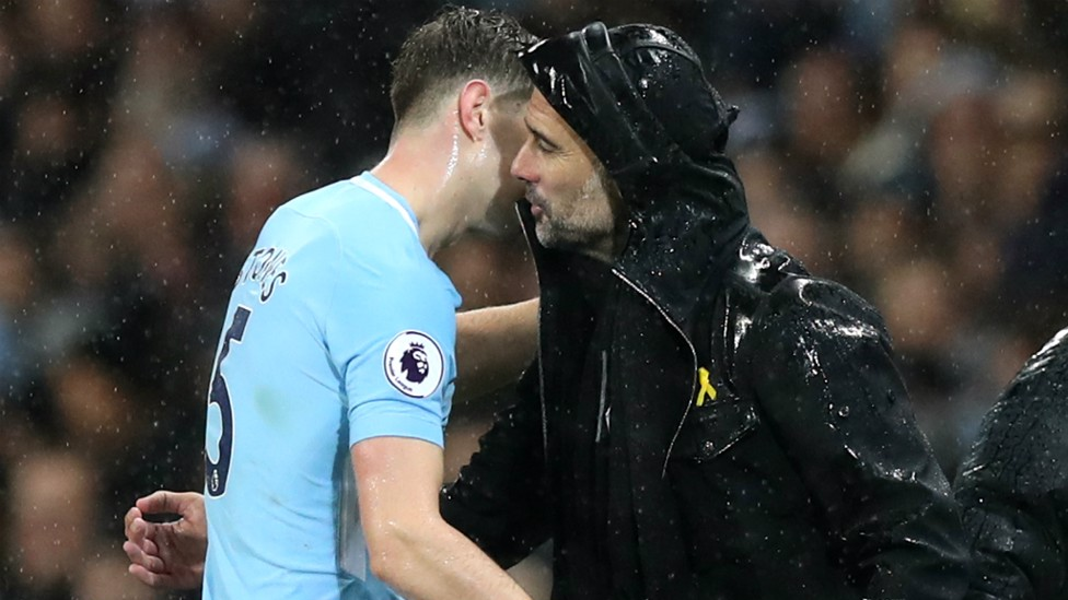 PEP TALK: The manager was pleased with Stones' showing