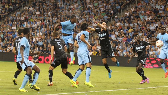 TOWERING: Dedryk Boyata powers home a head in the 4-1 defeat of Kansas City back in 2014.