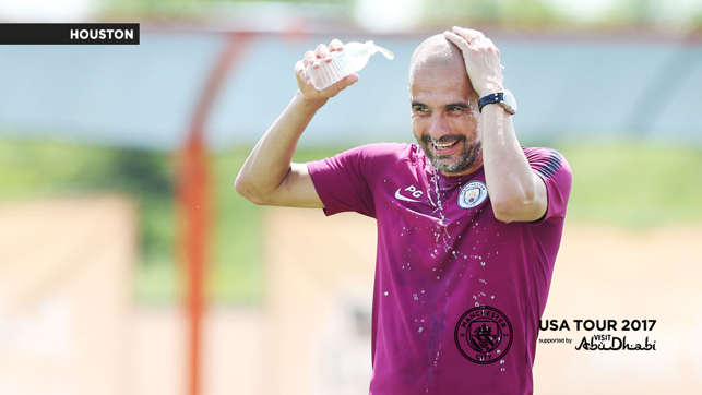 LAST DAY IN HOUSTON: Guardiola cools off