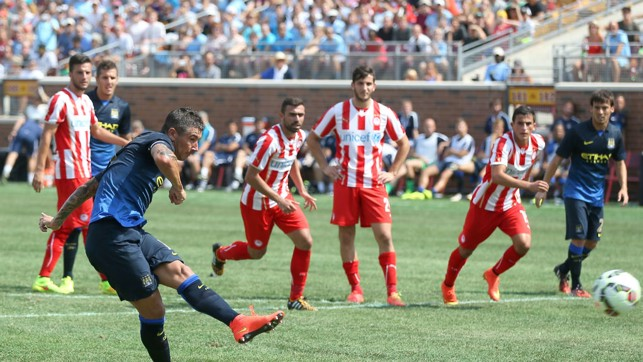 ON TARGET: Aleks Kolarov nets from the spot against Olympiacos during our last game in the States before this season's trip.