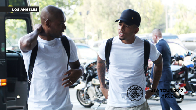 LOS ANGELES ARRIVAL: Fernandinho and  Gabriel Jesus in DSquared2