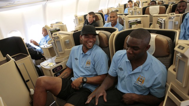 FLYING HIGH: Joleon Lescott and Micah Richards prepare for take off in 2010.