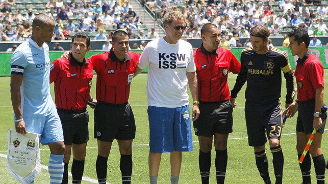COMEDY VALUE: Will Ferrell joins Vincent Kompany before kick-off in LA in 2011.