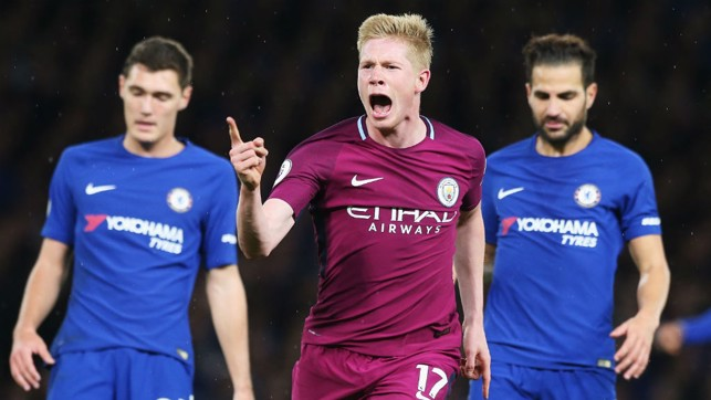 THAT'S THE ONE! De Bruyne celebrates his matchwinner against Chelsea