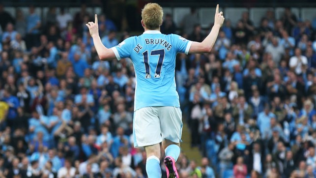 OFF THE MARK: De Bruyne celebrates his first City goal against West Ham