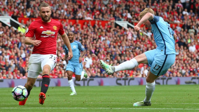 DERBY DELIGHT: De Bruyne scores against United in September 2016