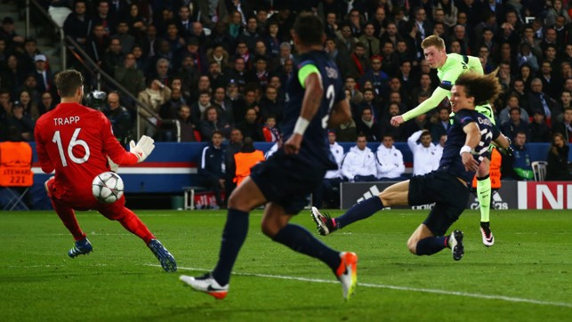 JUST CHAMPION: De Bruyne slams home against PSG in April 2016